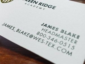 Spot Color Raised Ink Business Cards